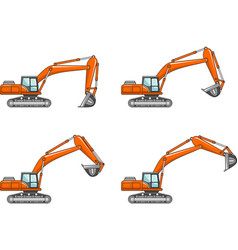 excavators heavy construction machines vector image