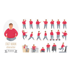 fat man action poses set cartoon body positive vector image