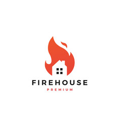 Fire house logo flame icon design inspirations vector
