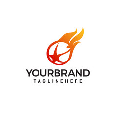 flaming ball star logo design template vector image