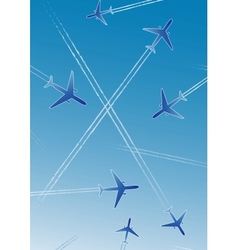 Flying airplanes vector