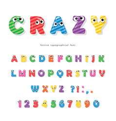 funny kids font with eyes cartoon glossy colorful vector image