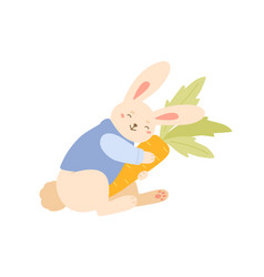 funny rabbit smiling hugging carrot flat vector image