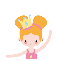 Girl practice ballet with two buns hair and crown vector