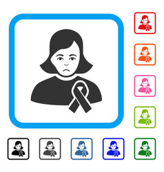 Girl with sympathy ribbon framed sadly icon vector