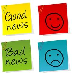 Good bad news notes vector