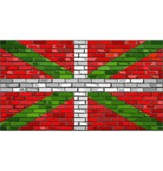 Grunge flag of Basque on a brick wall vector