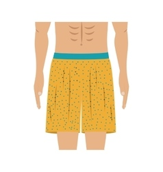 Half body men with yellow swimming short vector