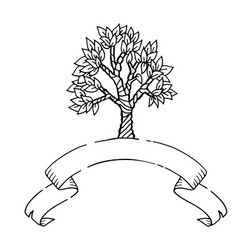 Hand drawn scetch tree with ribbon banner vector
