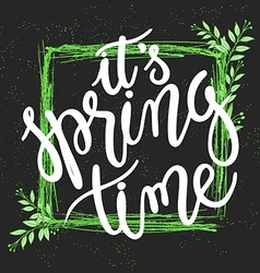 hand drawn spring lettering quote Squared green vector image