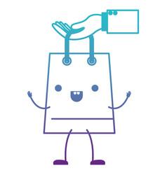 Hand holding animated kawaii trapezoid shopping vector
