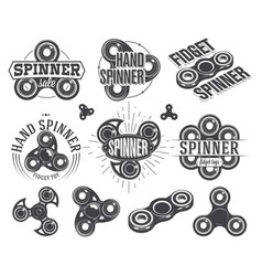 hand spinner emblems and logos fidget toys vector image