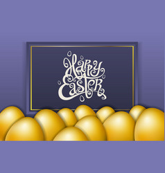 happy easter lettering modern calligraphy gold egg vector image
