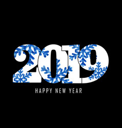 happy new year card white number 2019 with blue vector image