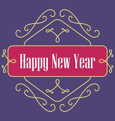 Happy New Year monograms Festive Card Lineart vector image