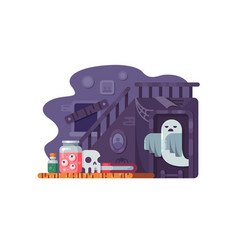 Haunted house flat vector