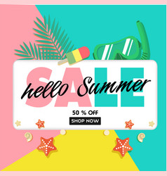 hello summer sale 50 off shop now ice cream snork vector image