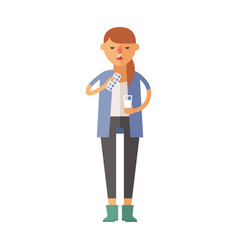 illness flu woman feeling cold and blowing his vector image