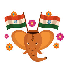 Indian elephant ganesha with indian flags vector