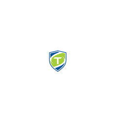 initial t shield logo icon technology vector image