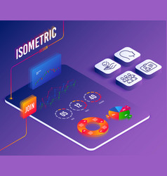 Isometric set id card head and approved icons vector