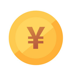 japanese yen coin icon - flat vector image