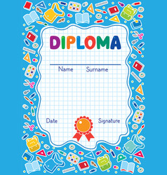 Kids diploma background with education supplies vector
