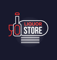 liquor store neon sign vintage bright glowing vector image