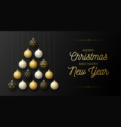 luxury christmas and new year greeting card vector image