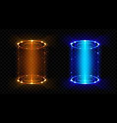 magic portal fantasy futuristic hologram teleports vector image