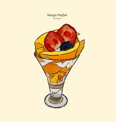 Mango parfait hand draw sketch vector