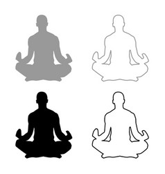 Meditating man practicing yoga symbol icon set vector