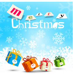 merry christmas design with snowflakes on blue vector image