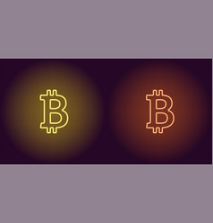 neon icon of yellow and orange bitcoin vector image