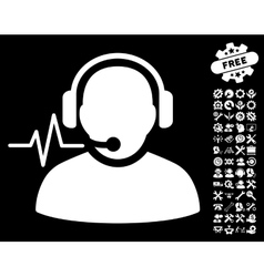 Operator Signal Icon with Tools Bonus vector image vector image