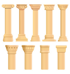 pillar icons set cartoon style vector image
