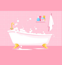 Pink bathroom semi flat vector