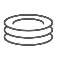 plates line icon kitchen and cooking dishes sign vector image