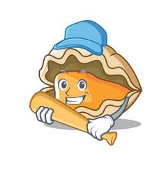 playing baseball oyster character cartoon style vector image