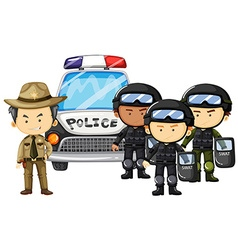 Policeman and SWAT team in uniform vector