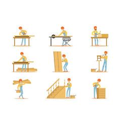 Professional wood jointer at work crafting wooden vector