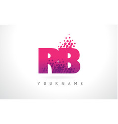 Rb r b letter logo with pink purple color and vector