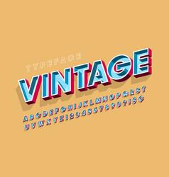 retro original 3d display font design alphabet vector image