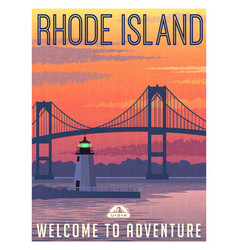 Rhode island newport bridge travel poster vector