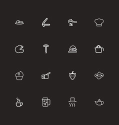 set of 16 editable food outline icons includes vector image