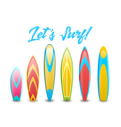 set of different colorful and decorated surfboards vector image