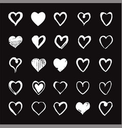 set of white hand drawn hearts design elements vector image