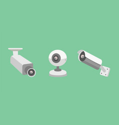 Set security camera cctv cartoon vector