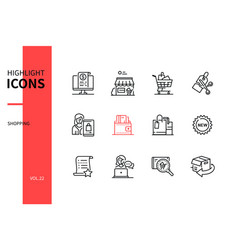 shopping concept - line design style icons set vector image