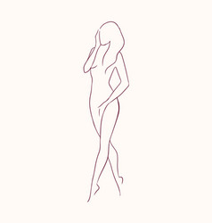 Silhouette of young graceful long-haired naked vector